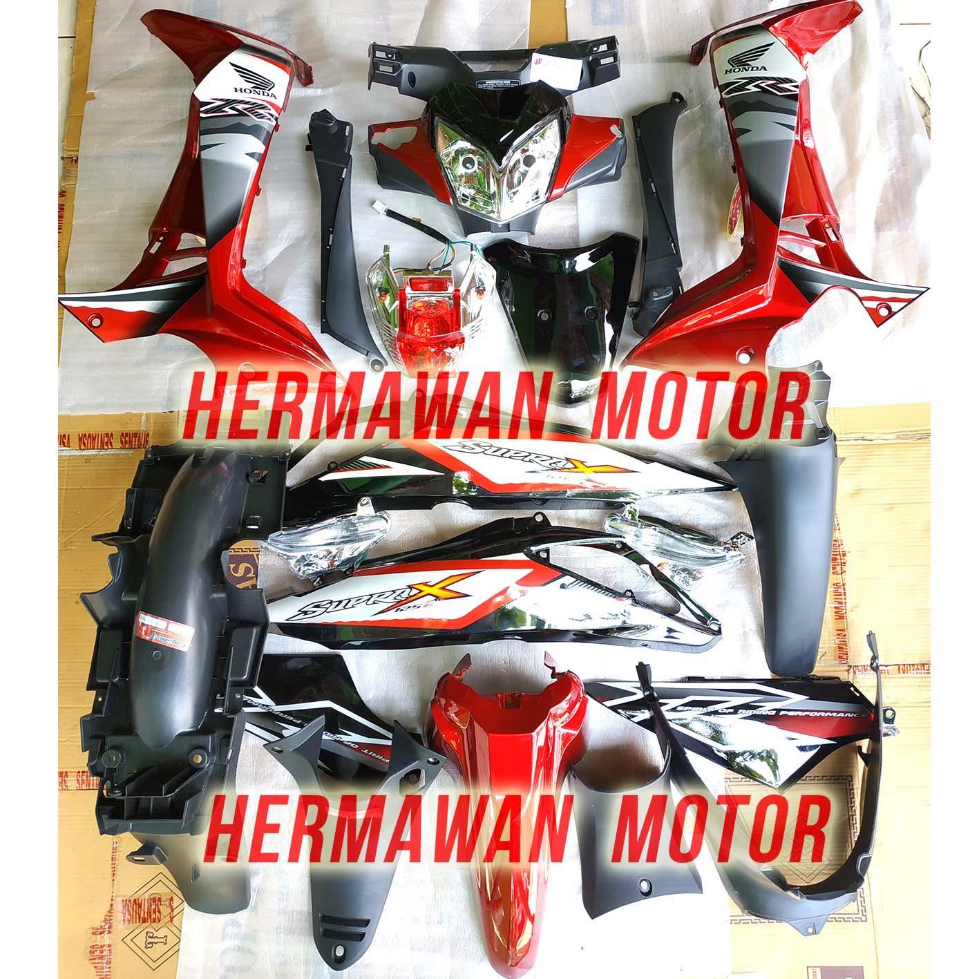 Full satu motor dan lampu Honda supra x 125 th 2007-2013 warna merah marron