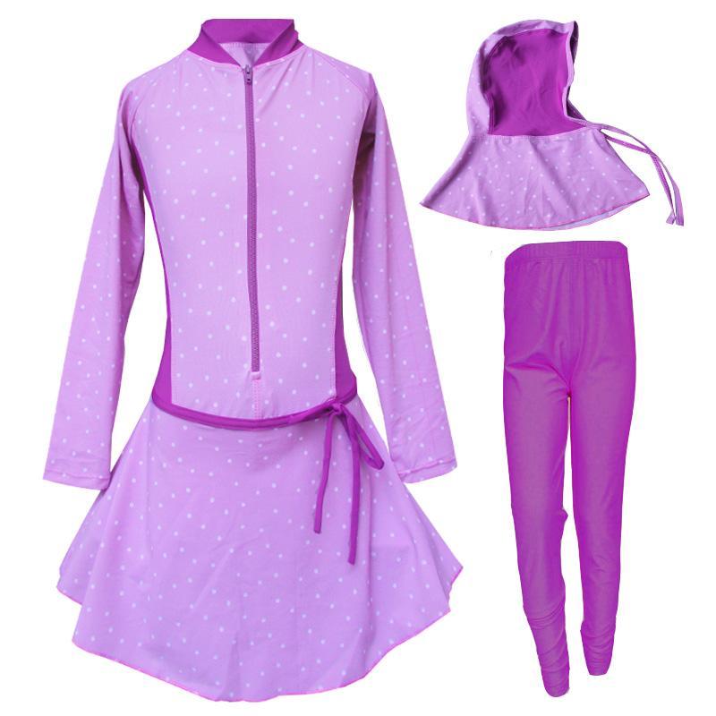 Baju Renang Anak Muslim Motif Bintik Kecil Size SD