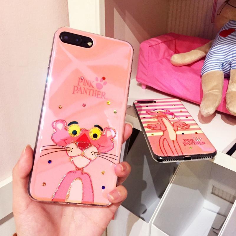 Selubung Ponsel Iphone8plus Macan Tutul Merah Muda Selubung Lunak Jepang atau Korea Selatan Bedak Mengkilap