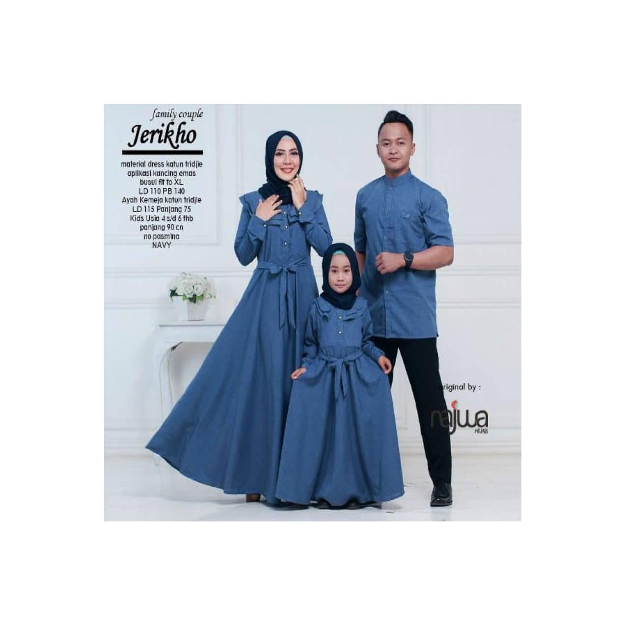 TERLARIS Baju gamis dan kemeja ibu anak ayah jerikho couple family ori