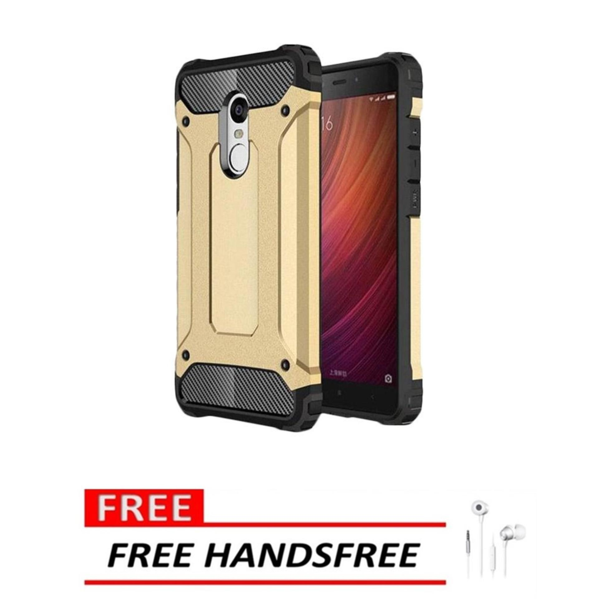 Case Hard Cover Robot Shockproof Armor For Xiaomi Redmi Note 4X – Gold FREE Handsfree