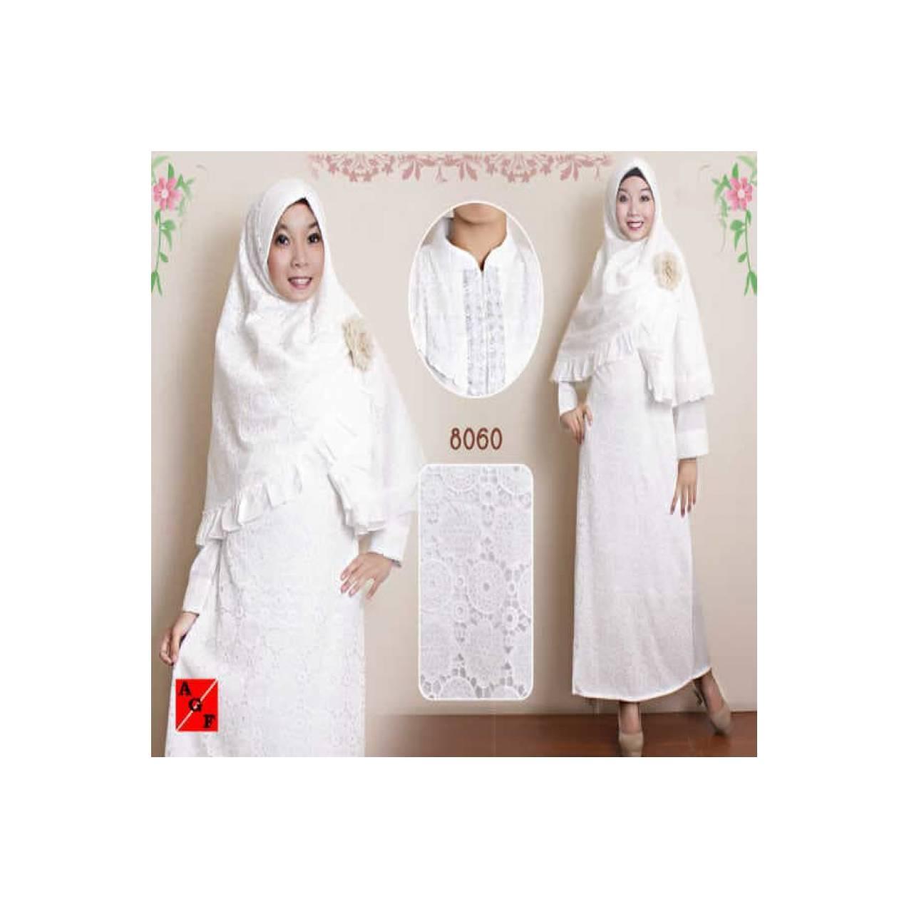 Gamis kerudung putih set bahan silk+ renda, cocok buat naik haji/umroh