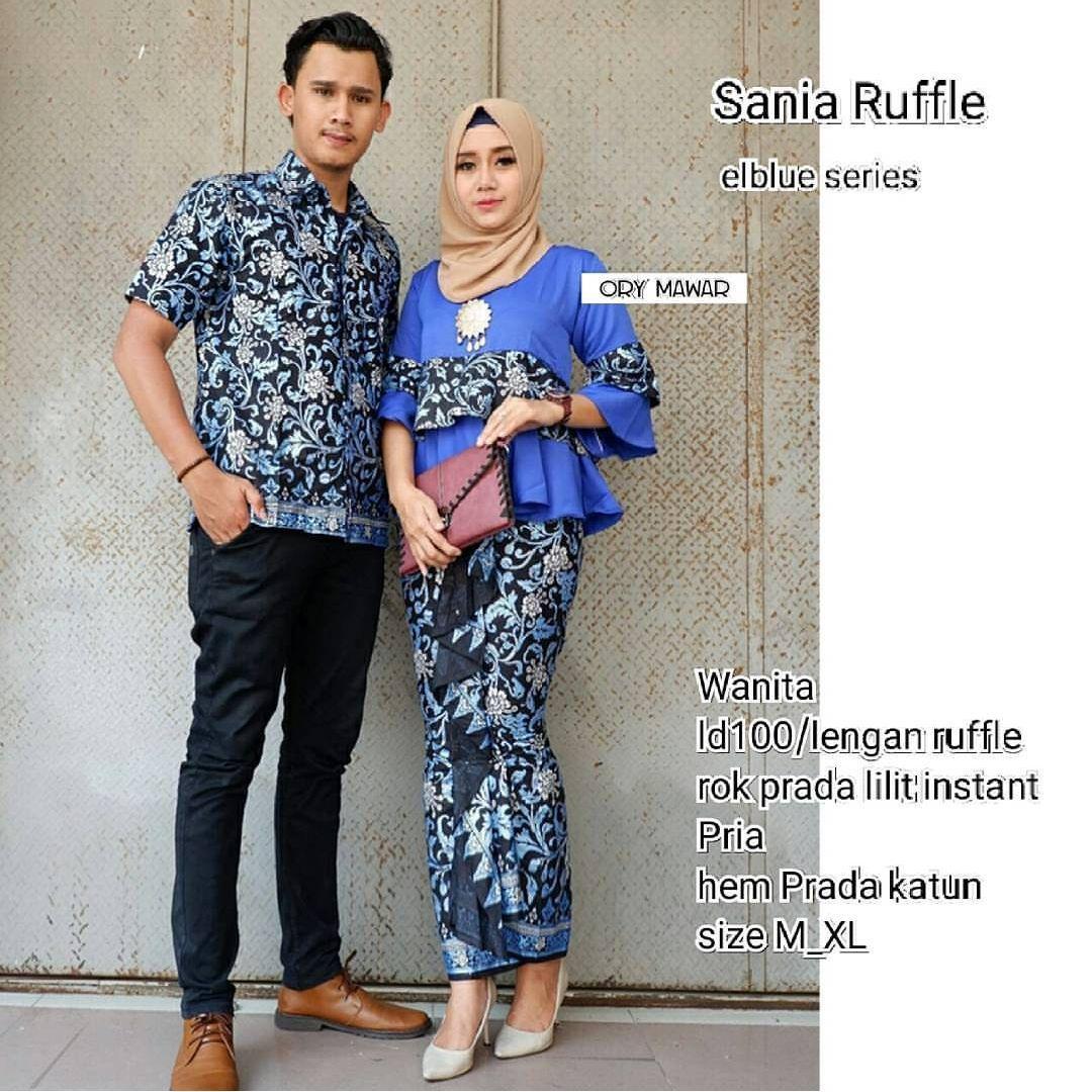 TERMURAH - Batik Couple / Couple Batik / Batik Sarimbit Sania Biru