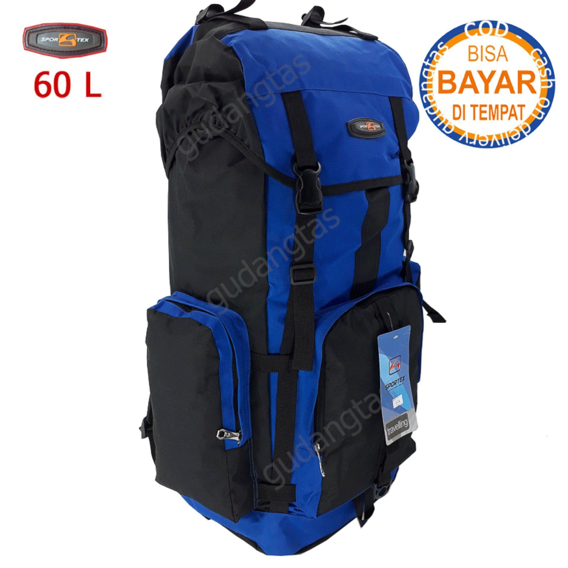 Sportex Tas Gunung Tas Keril Tas Carrier Ransel Camping Tas Hiking 60L 04W4  Biru Terang kombinasi fd5408dcab