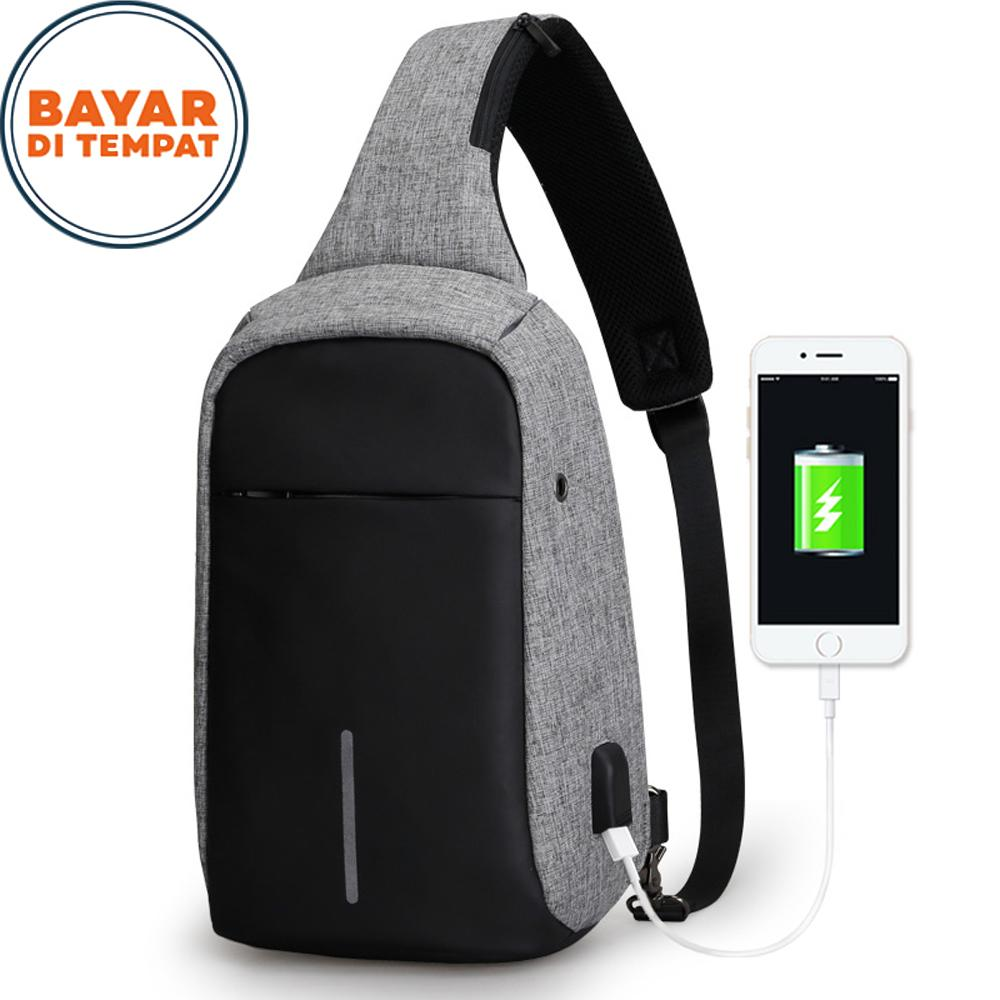 Polo Top Tas Selempang Sling Bag Anti Maling M-9600FS Cross Body With USB Charger Support For Iphon