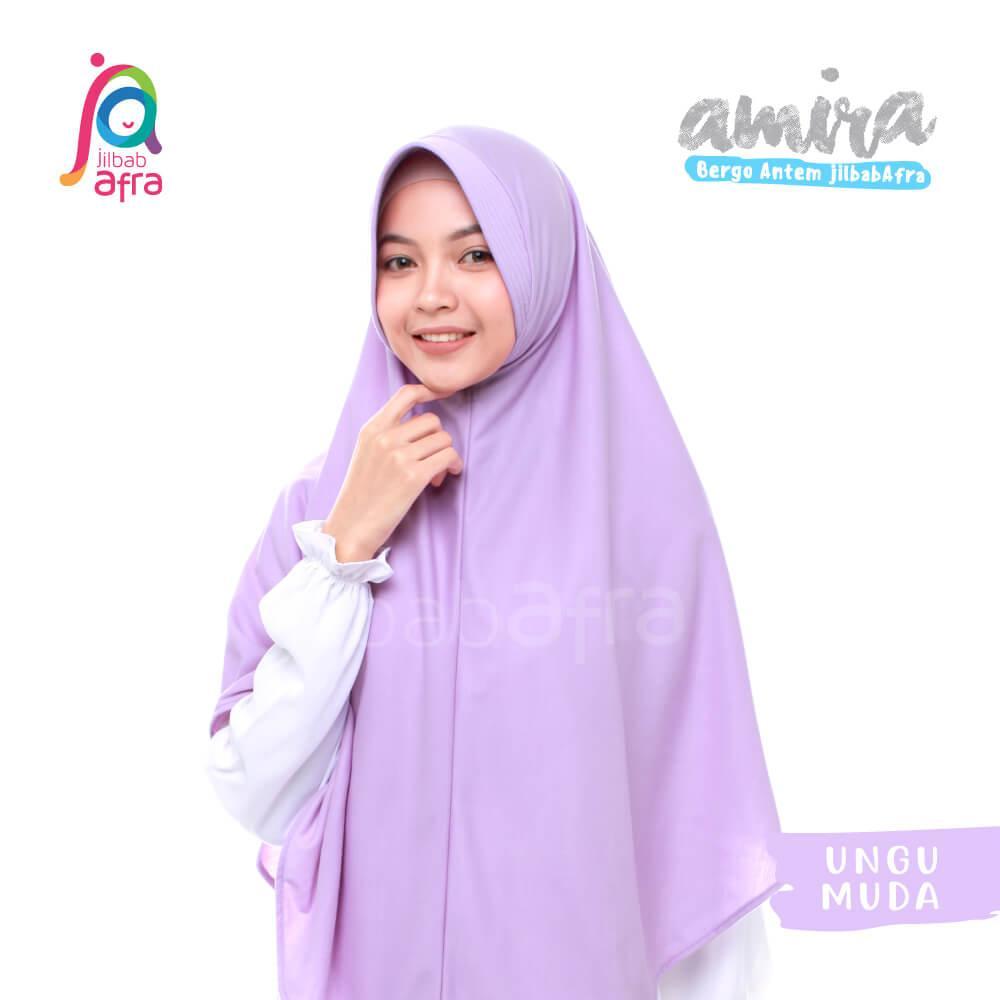 Jilbab Amira 19 Ungu Muda - Bergo Pet Antem - Jilbab Afra - Hijab Instan Bahan Kaos, Adem & Lembut