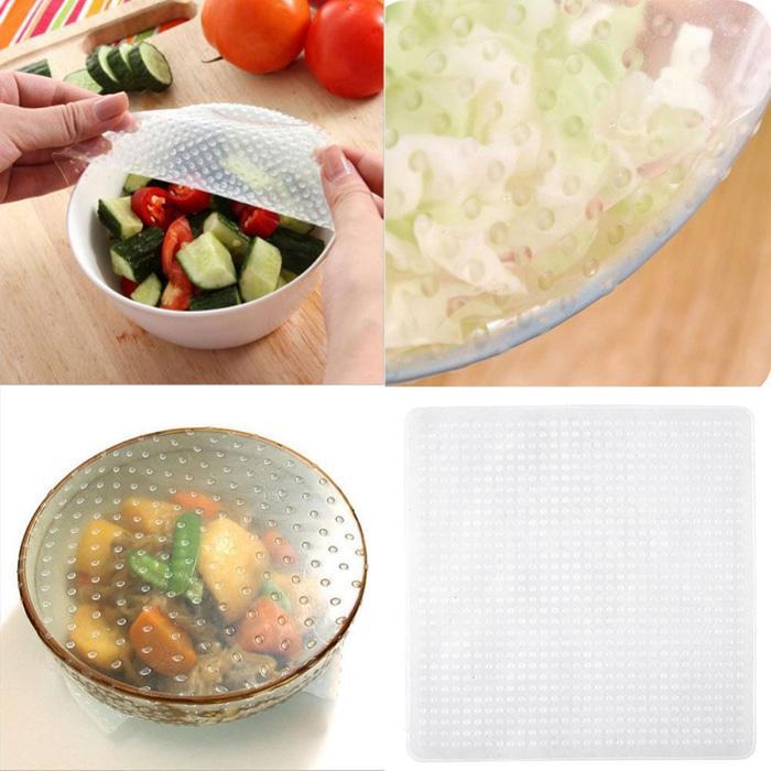 Silikon Pelindung Makanan Silicone Stretch Penutup Makanan 4 Pcs