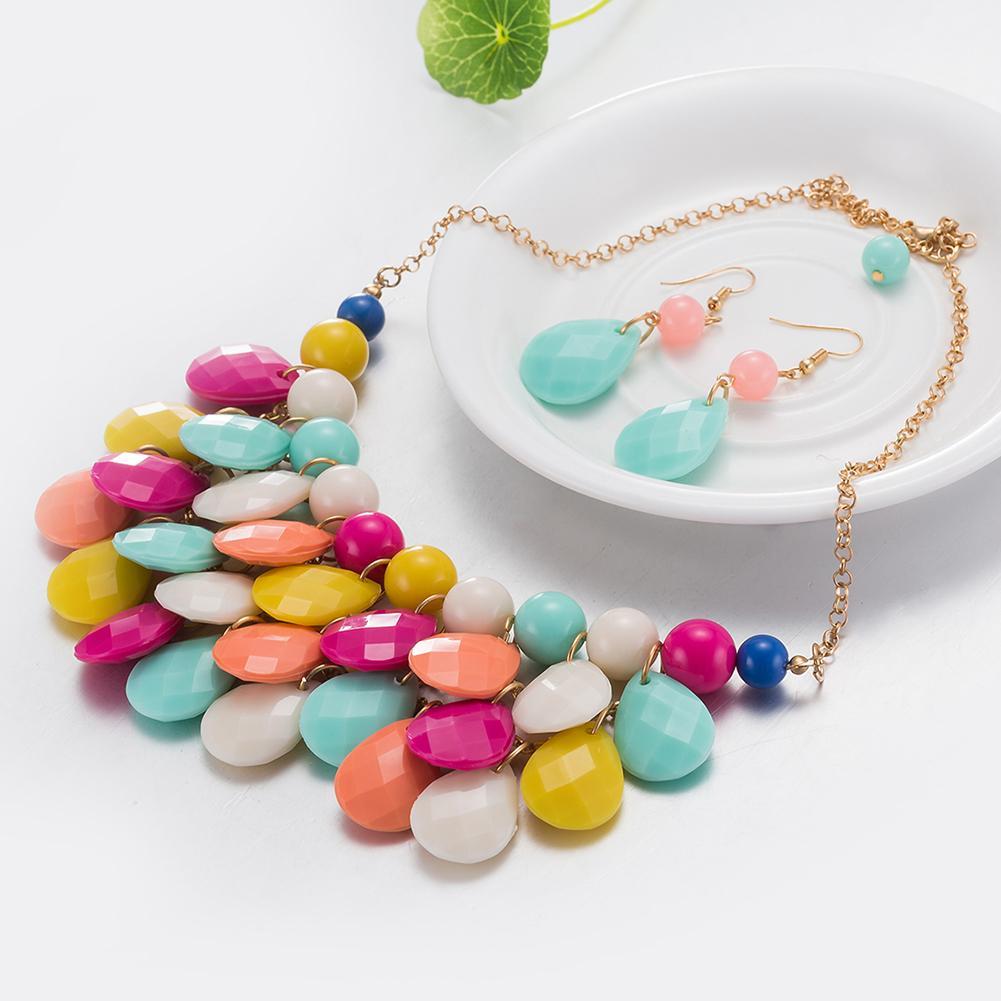 Jual panas berlebihan perhiasan merek fashion grosir paduan resin anting kalung kristal set ekspor FSS004-H FSS004
