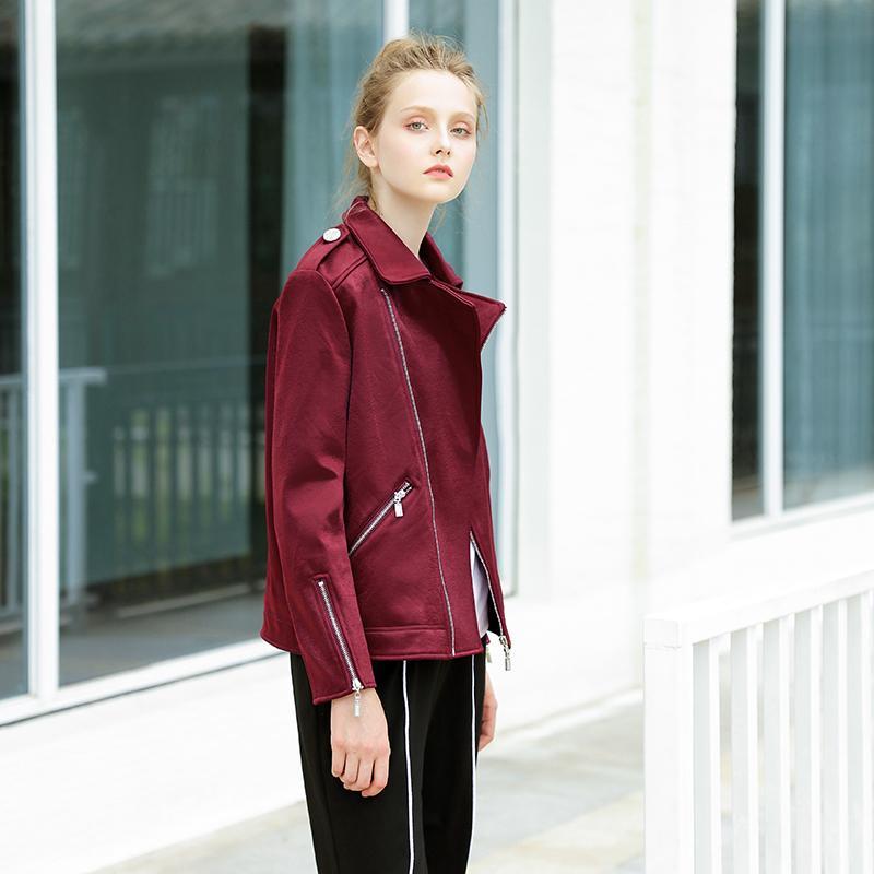 Jaket Korea Modis Gaya Beludru Kulit Rusa Musim Semi atau Musim Gugur Perempuan (Anggur Merah)