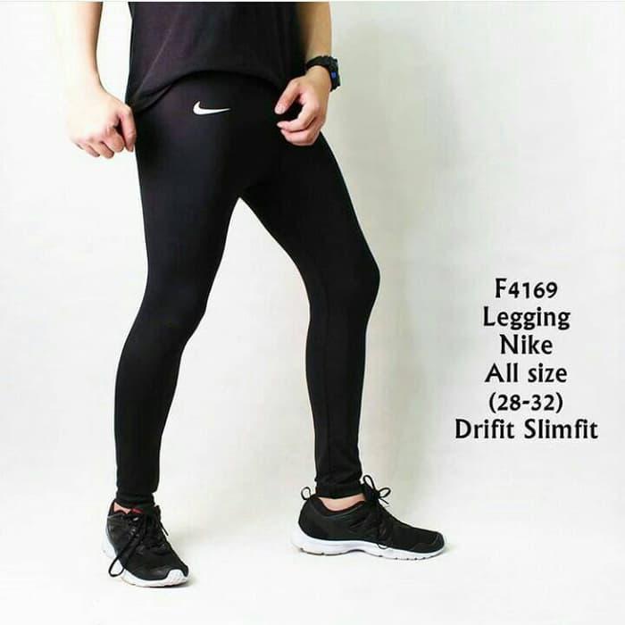 HARGA DISKON!!! Celana Legging Panjang Pria sport Gym Fitnes Nike Hitam - yb1Q60