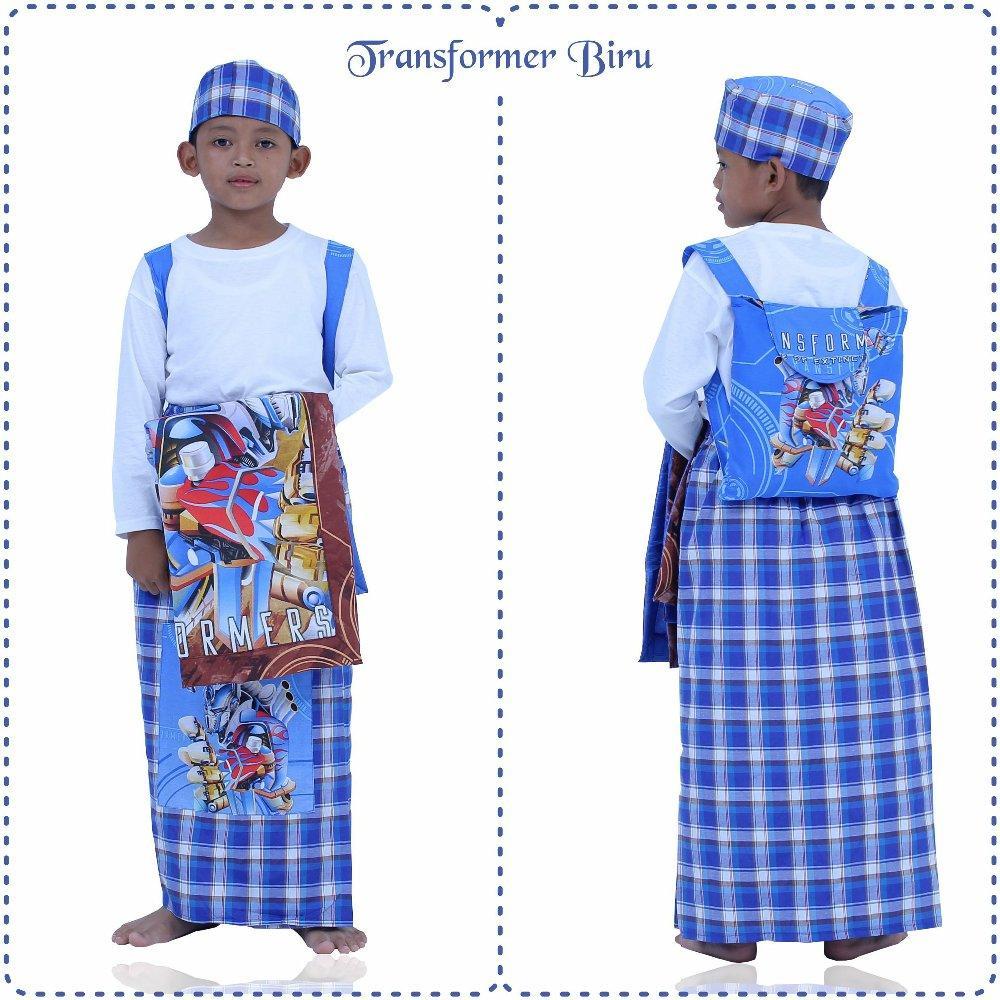 Sarung Instan Anak Karakter Transformer Biru Size XS di lapak Mukena Yumna mukenayumna