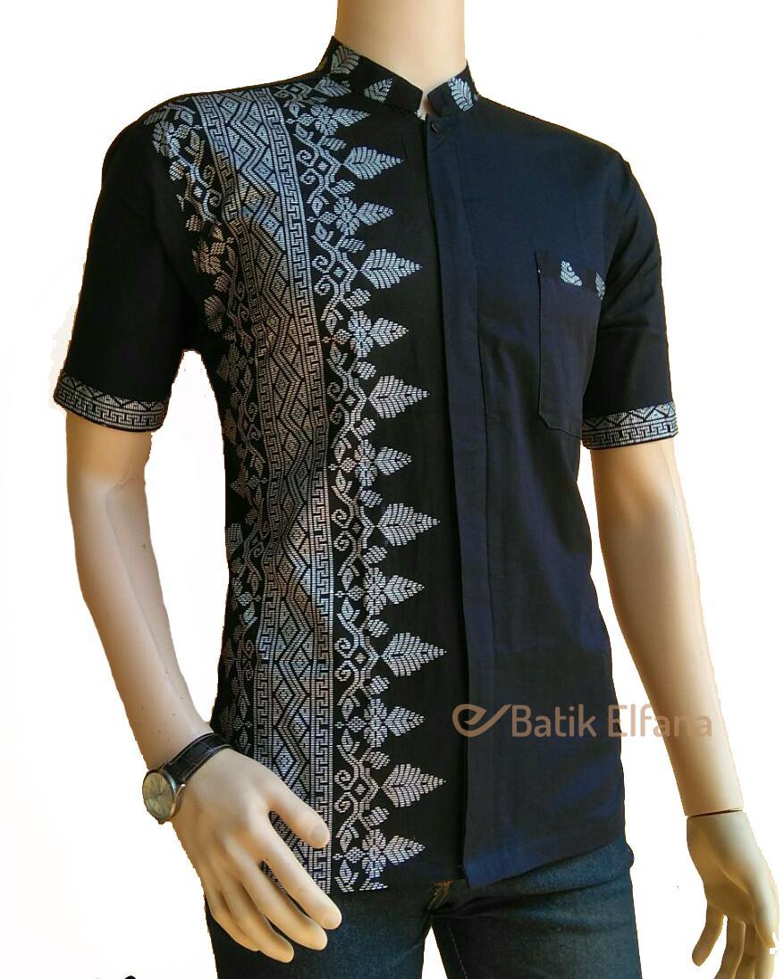 Baju Koko Pria Koko Jarum Silver Exclusive Batik Elfana