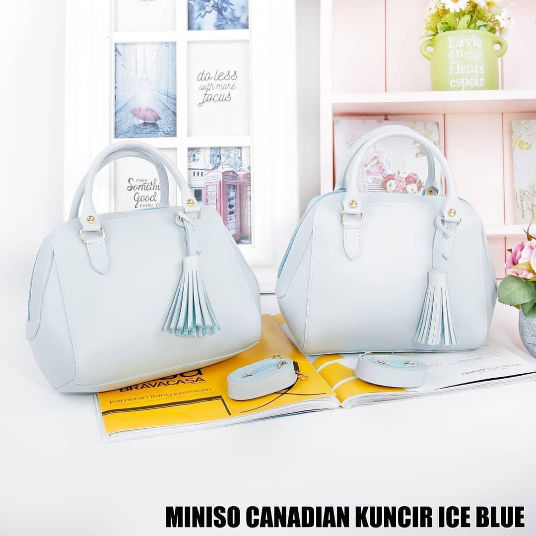 Tas Wanita Sling Bag Miniso Canadian Kuncir - Ice Blue