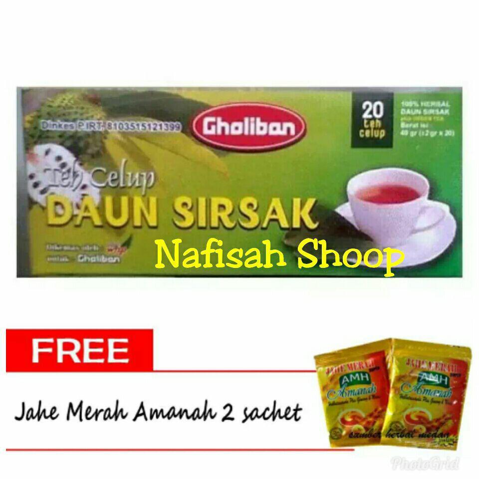 Teh Clup Daun Sirsak Gholibn gratis 2 caset jahe merah
