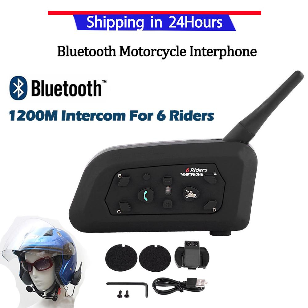 【Promotion】1x Bluetooth Motor Helm Interphone Headset Interkom V6 1200 M 6 Pengendara-