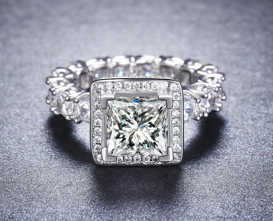 NEW Promo Perhiasan Cincin Emas Putih Batu Mewah Full Berlian Imitasi Diamond BR156 Murah