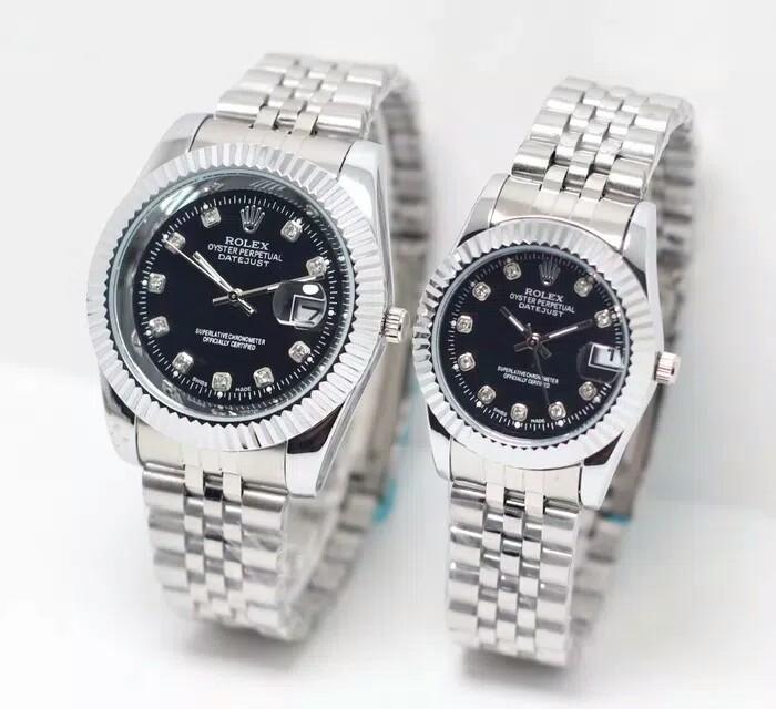Jam tangan couple pria wanita Rolex kw super silver black