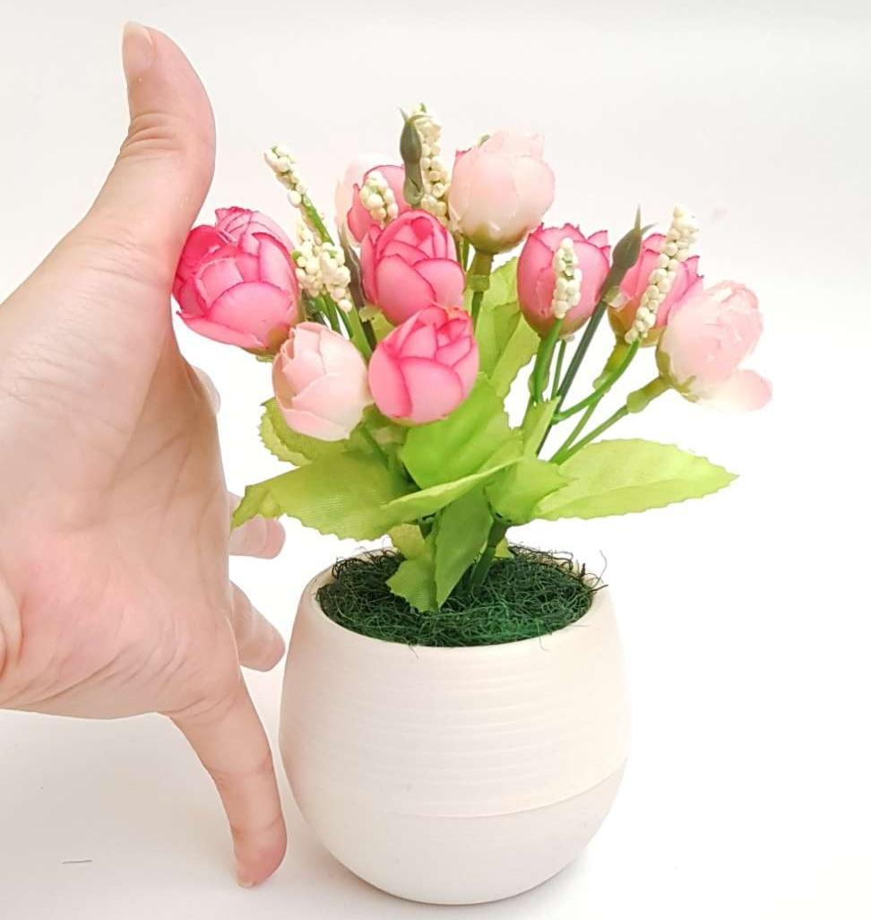 Bonsai Mini Mawar Kuncup Vas Bola Hiasan Dekorasi Artificial f41549697b