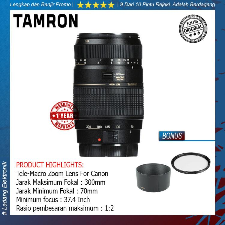 Tamron For Canon AF 70-300mm f/4-5.6 Di LD Tele-Macro (1:2) Free Lenshood + UV Filter