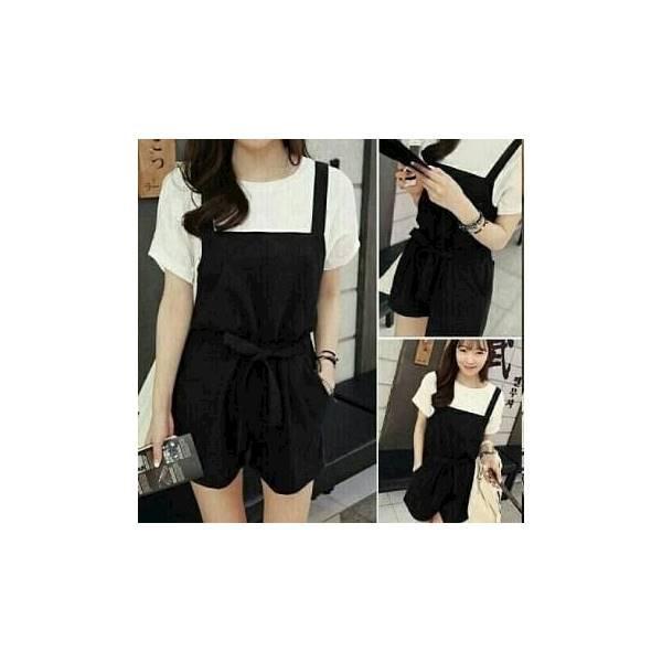 Setelan Celana Jumpsuit Pendek Overall + Blouse 2In1 Simply Chic Ootd