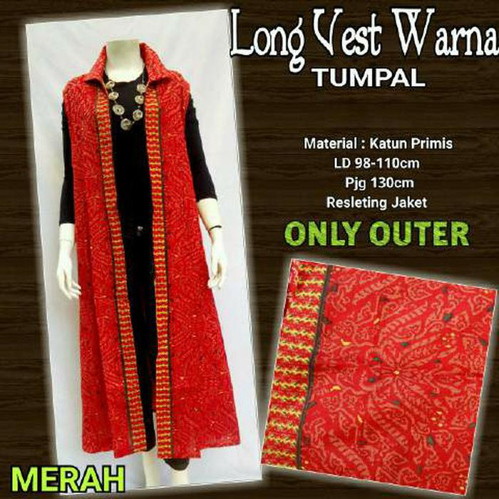 Dress Batik Solo. Long Vest Batik Warna Tumpal