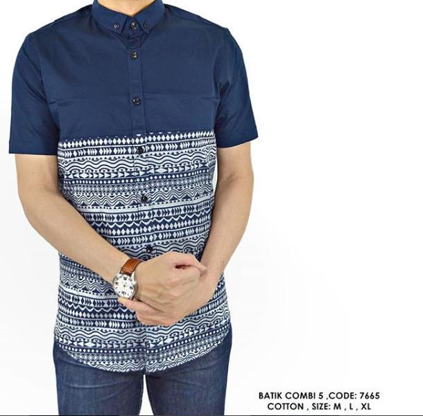 van shirt store  KEMEJA PRINT FASHION BATIK TRIBAL KOMBINASI POLOS COWOK PRIA  Batik Combo 5