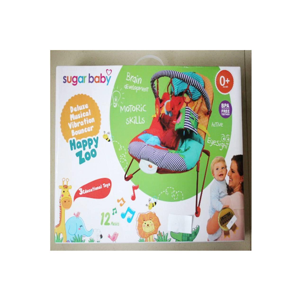 Sugar Baby Fox Deluxe Musical Vibration Bouncer Greengreen Toys Vibratin Happy Zoo En12790