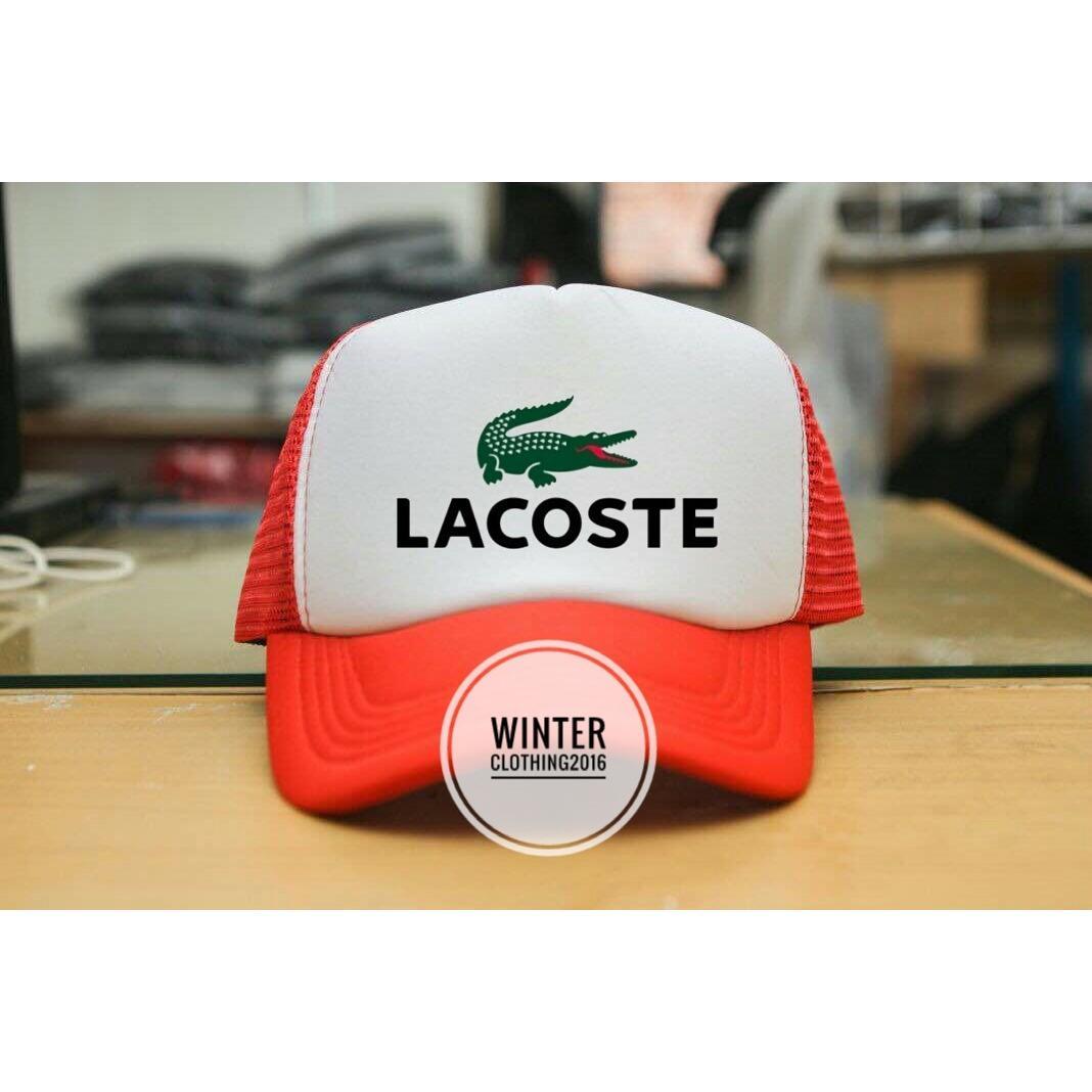 topi trucker(jaring-jaring) lacoste,putih-merah