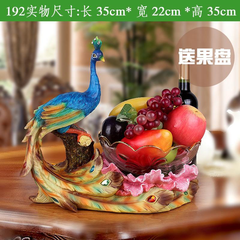 Jinchuancheng Model Eropa Kaca Piring Buah Peacock Ornamen Ruang Tamu 58 Dekorasi Asian Creative Luxury Art