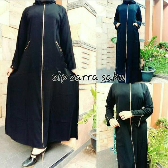 Simple Exclusive Abaya Dubai Gamis Arab Jubah India Dress Turkey Bordir Multazam Black Hitam Simpel (S)