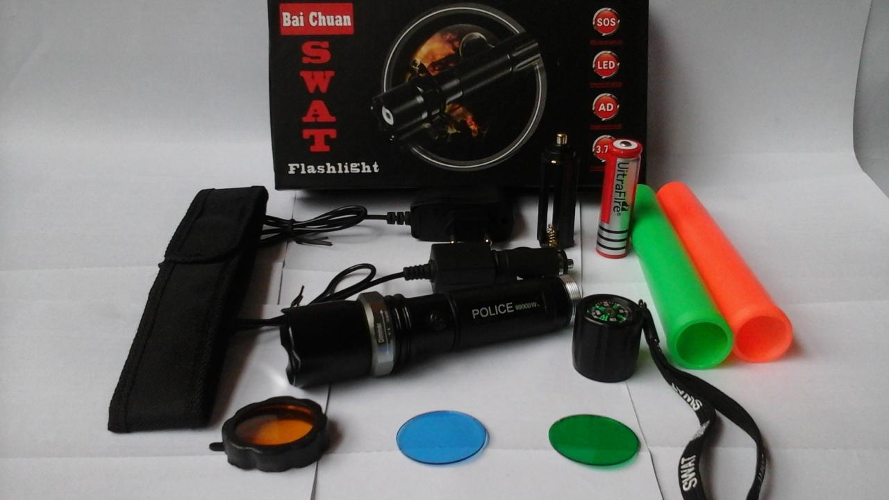 Buy Sell Cheapest Swat Strong Light Best Quality Product Deals Senter Zoom Swatt Police Bai Chuan Original 99000w New Double 2 Cone Lalin Flashlight Sinar Cahaya Led Putih