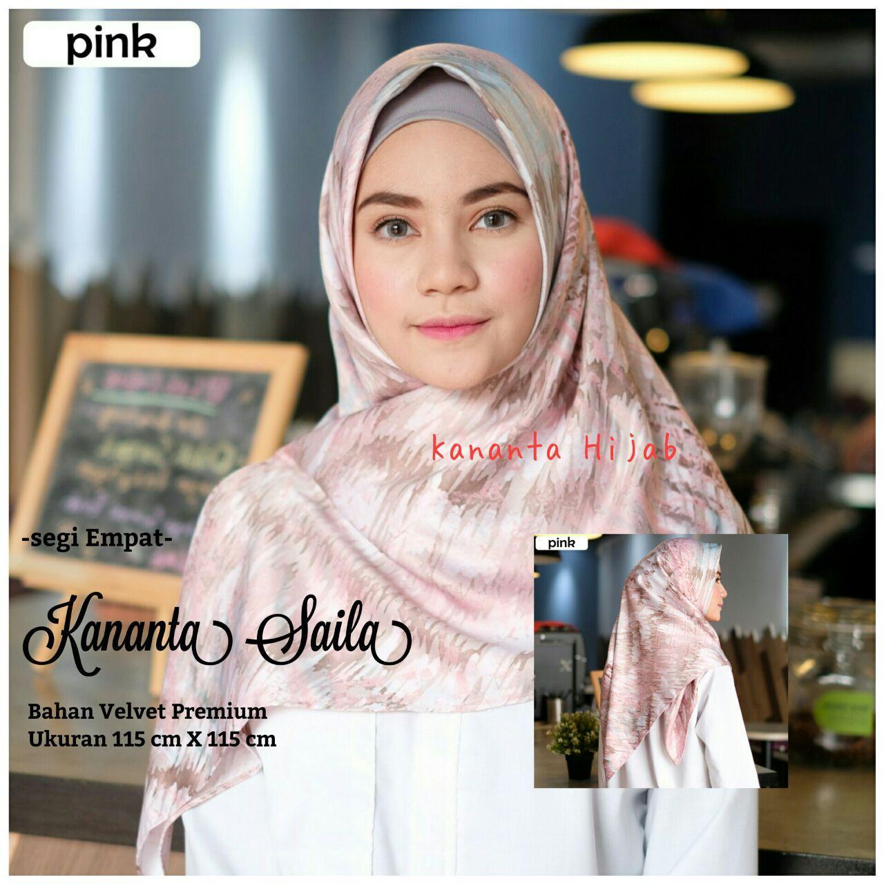 Kananta Hijab Segi Empat Motif Pink / Jilbab Segi Empat Motif / Kerudung Segi Empat Motif / Bahan Kain Velvet Premium PINK Collection