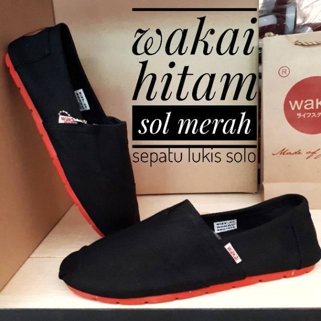 Sepatu santai hitam sol merah pria/wanita JAMAN NOW zelfan shop
