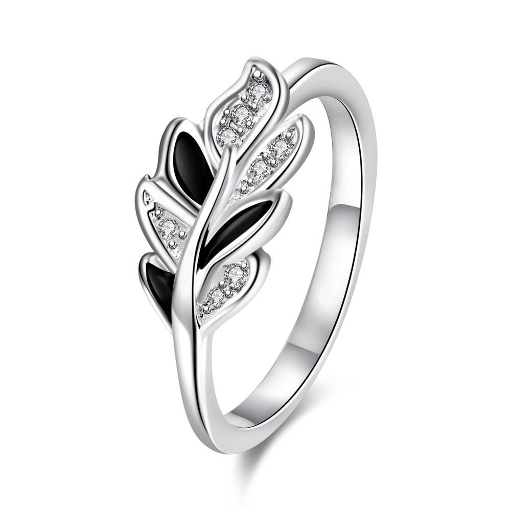 Fashionable perak dekorasi baru jual panas pribadi Bunga Kristal Titik bor daun klasik Lady Wanita Cincin SPR052-8 SPR052