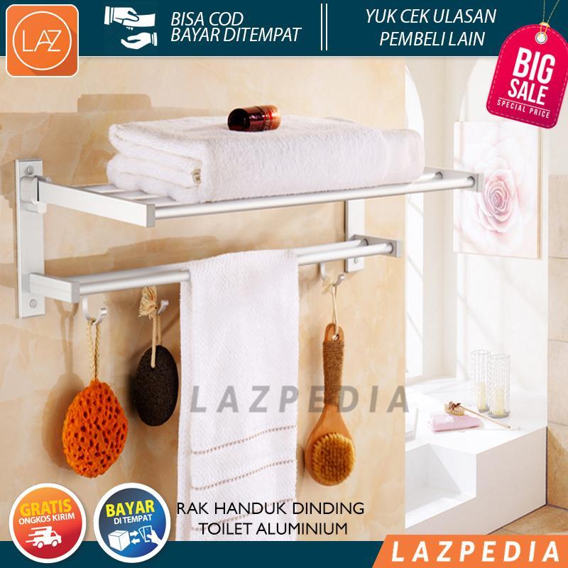 Cod/byr Ditempat - Promo!!!!! - [269] Rak Handuk Dinding Toilet Aluminium 269 Size 60x21x16cm Kualitas High-End / Perak - Lazpedia By Lazpedia.