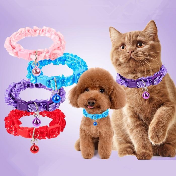 Kalung lonceng anjing kucing musang kelinci cantik pita polkadot murah