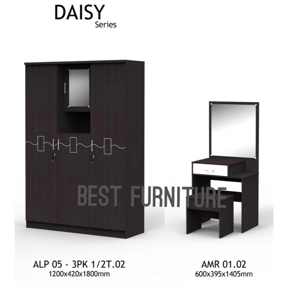 Best Furniture MMG Paket Lemari Pakaian 3 Pintu dan Meja Rias Set