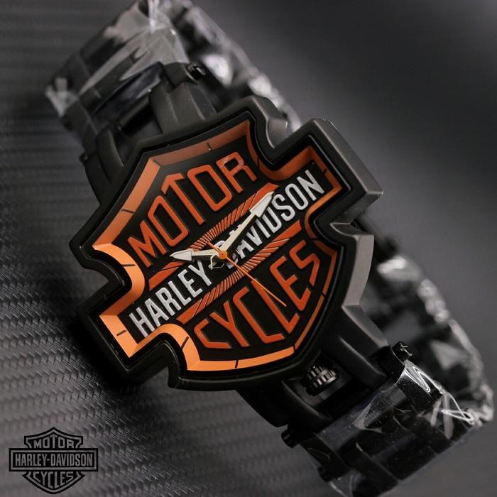 Jam Tangan Pria / Cowok Harley Davidson Marcoz Rantai Hitam Orange