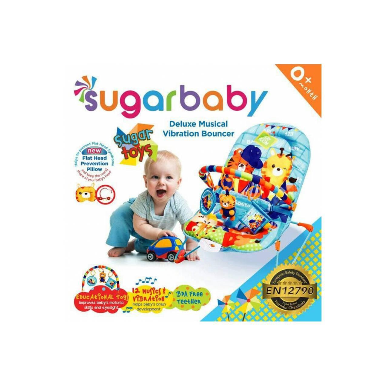 Bouncer Sugar Baby Blue Sugar Toys / Kursi Santai Musik dan Getar Bayi