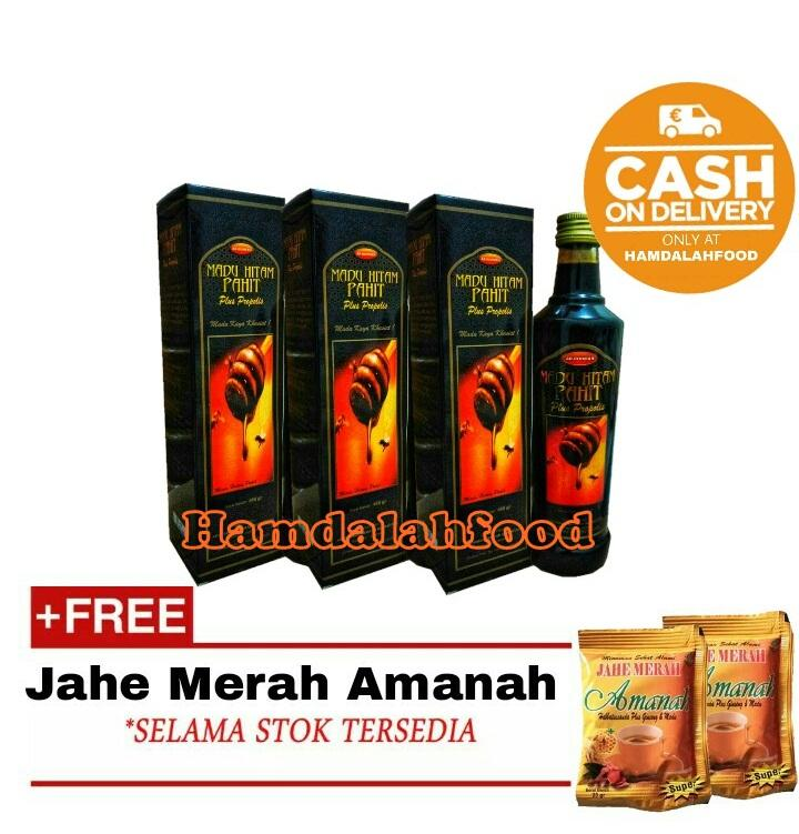 Hamdalahfood - 4 Botol Berkah Nusantara Madu Pahit Hitam Ar Rohmah 460 gr + Jahe Amanah