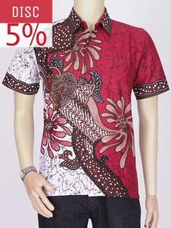 Baju Kemeja Batik Exlusif Pekalongan || Distro Batik Bandung 2617 - Merah, M