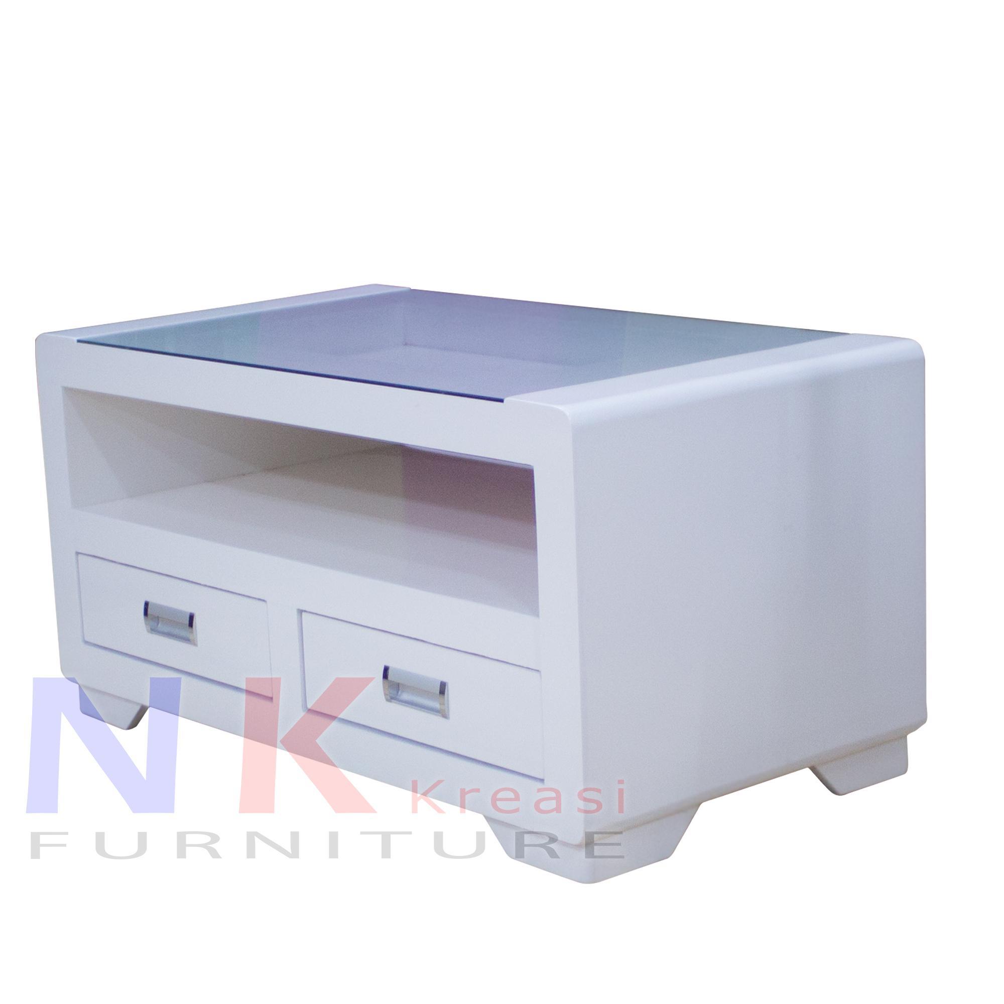 Meja Tamu Duko Putih, meja Kayu Kerang Laci 2 minimalis mewah - JABODETABEK ONLY