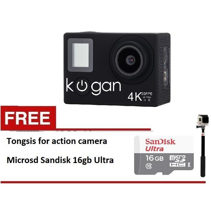 Kogan Action Camera 4K NV UltraHD - 16MP - Putih - WIFI + Sandisk 16gb + tongsis