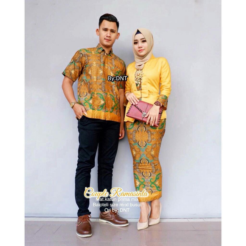 TERMURAH - Baju batik couple - baju muslim wanita terbaru 2018 -  Gamis wanita Terbaru - kebaya coupel Modern - Couple Batik - Batik Sarimbit - Batik Kondangan - Baju batik Ramasinta Kuning
