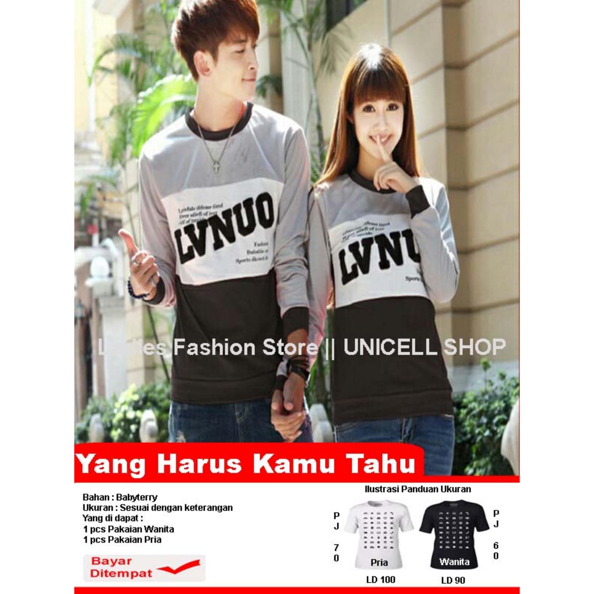 UC Kaos Couple lengan Panjang  LVNUO / Kaos Polos hitam  / Sweater Pasangan / T-shirt Pasangan / Pakaian Kembar / Kaos Pria Wanita LC - Abu Hitam - A0123 D3C