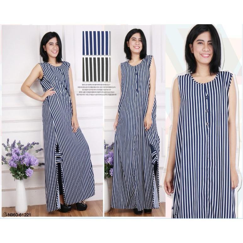 Oma Holley Fashion Maxi Dress Garis-garis Tanpa Lengan Kancing Garis Bawah - Size M