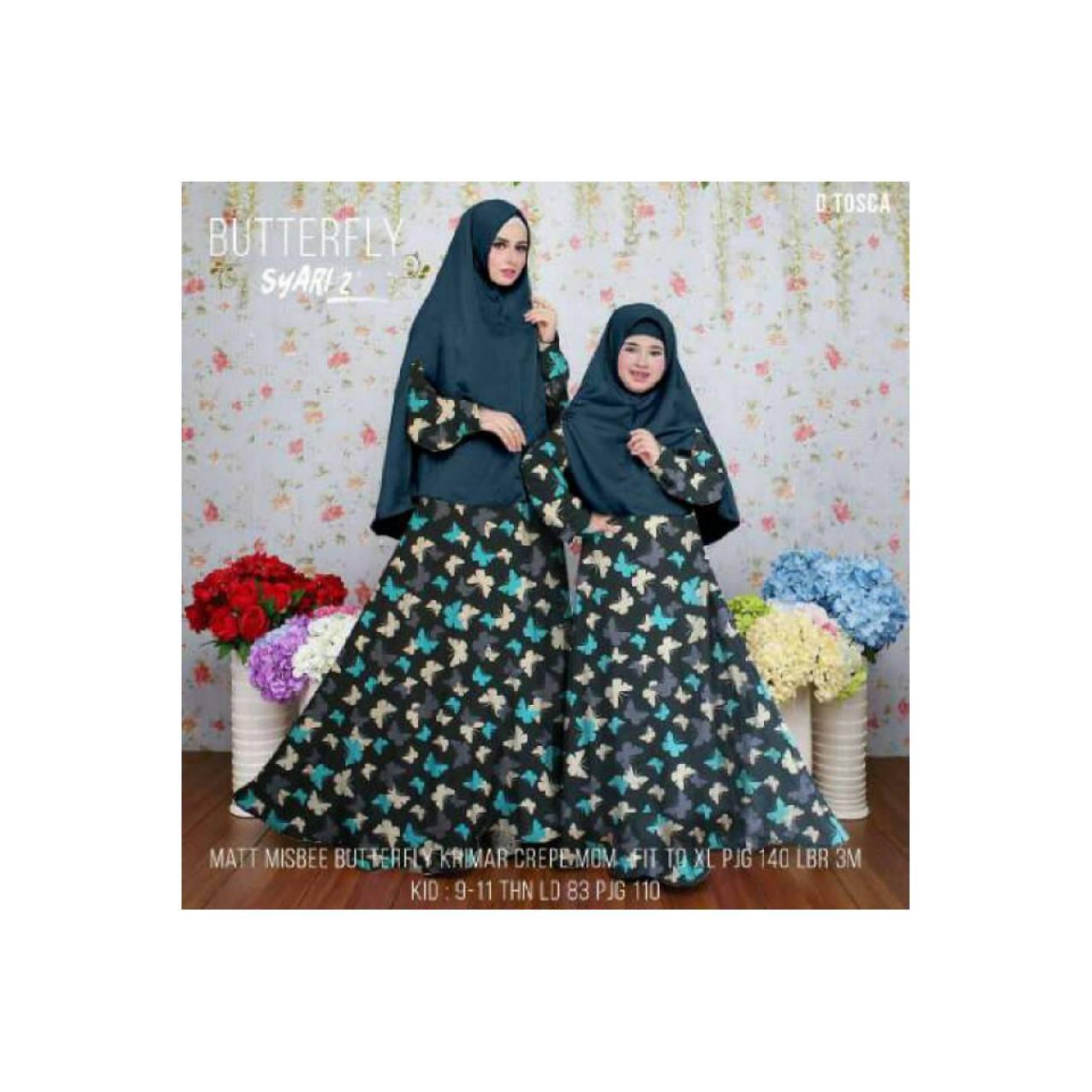 Baju Couple/Gamis Couple/Sarimbit/Syari Butterfly MOM&KIDS 2 D Tosca