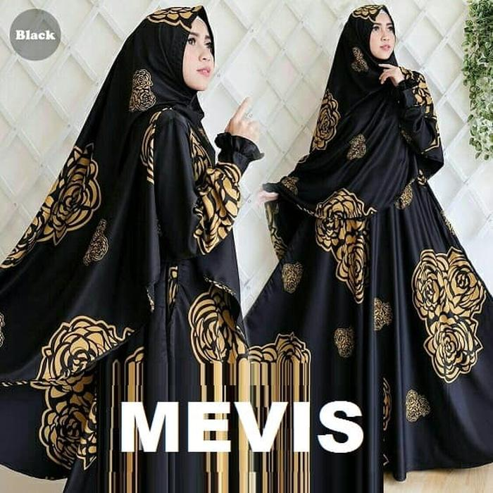 TOSERBU Gamis Maxi (L - Fit XL) MEVIS BLACK + BERGO - Satin Impor - Good Quali
