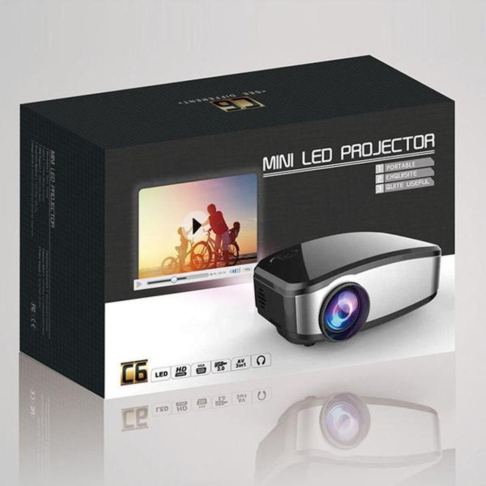 Mini proyektor cherlux c-6 portable projektor home theater projector  bagus keluaran terbaru dengan TV tuner kecerahan 1200 lumens resolusi 800 x 480 Cheerlux c6