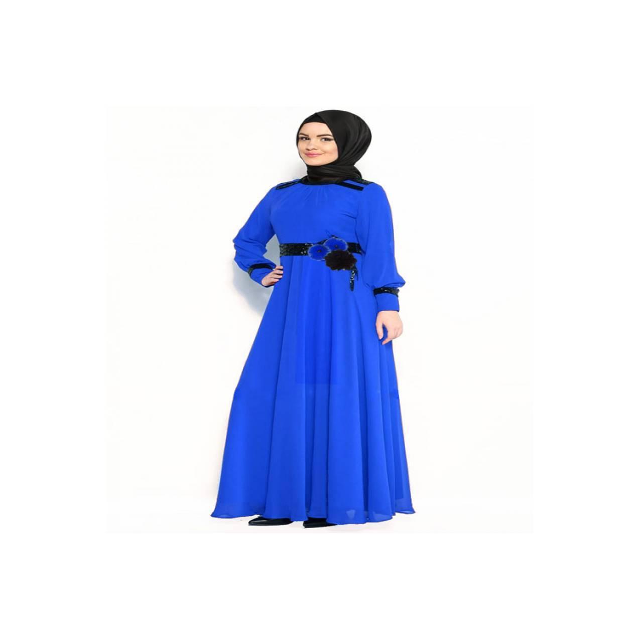Gamis Import Korea Muslim Blue Big Size XL-6XL DC-M0071 Murah